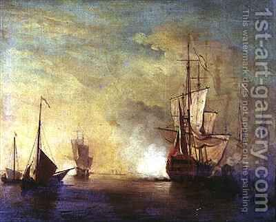Shipping in a Calm Sea by Charles Brooking - Reproduction Oil Painting