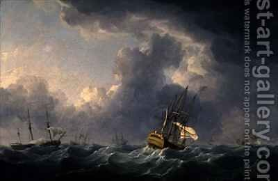 English Ships Running Before a Gale by Charles Brooking - Reproduction Oil Painting