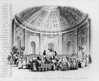 Sale of Estates, Pictures and Slaves in the Rotunda, New Orleans by (after) Brooke, William Henry - Reproduction Oil Painting