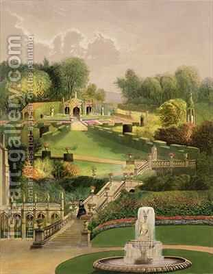 The Garden on the Hill Side, Castle Combe by E. Adveno Brooke - Reproduction Oil Painting