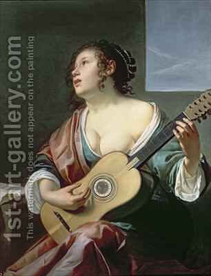 Woman with a Lute by Jan Gerritsz. van Bronckhorst - Reproduction Oil Painting