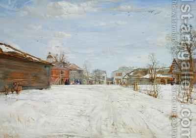 Street Scene in Winter by Isaak Israilevich Brodsky - Reproduction Oil Painting