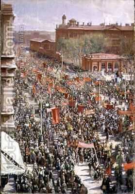 Demonstration on the October 25th Avenue, sketch for the 1934 painting in the Tretyakov Gallery by Isaak Israilevich Brodsky - Reproduction Oil Painting