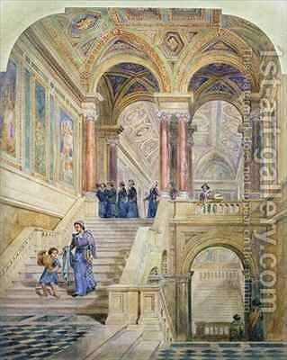 Design for the staircase of Leeds Town Hall by Cuthbert Brodrick - Reproduction Oil Painting