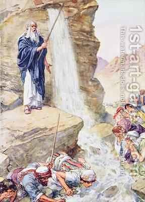 Calling on the name of Jehovah, he struck the rock by Charles Edmund Brock - Reproduction Oil Painting
