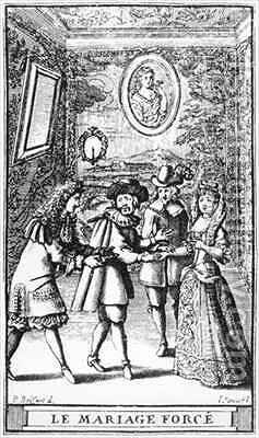 Frontispiece illustration from 'Le Mariage force' by Moliere by (after) Brissart, Pierre - Reproduction Oil Painting