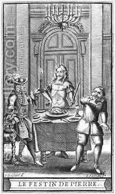Don Juan and the Commendatore, frontispiece illustration from 'Don Juan, or Le Festin de Pierre' by Moliere by (after) Brissart, Pierre - Reproduction Oil Painting