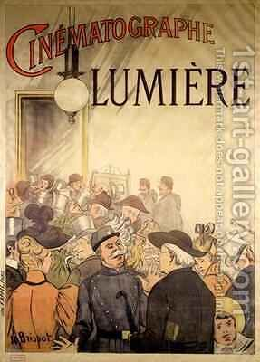 Poster advertising the 'Cinematographe Lumiere' by H. Brispot - Reproduction Oil Painting