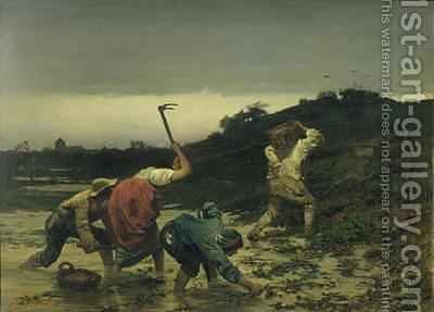 Peasants Harvesting Potatoes During the Flood of the Rhine in 1852 by Gustav Brion - Reproduction Oil Painting