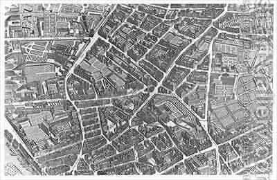 Plan of Paris, known as the 'Plan de Turgot' 2 by (after) Bretez, Louis - Reproduction Oil Painting