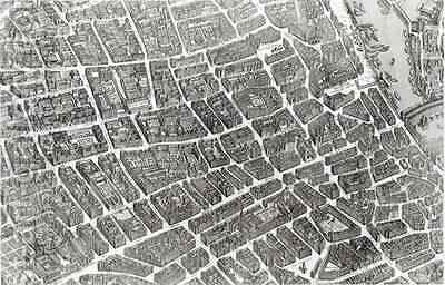 Plan of Paris, known as the 'Plan de Turgot' 8 by (after) Bretez, Louis - Reproduction Oil Painting