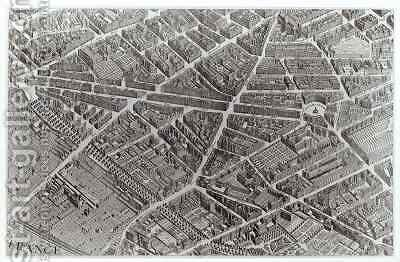 Plan of Paris, known as the 'Plan de Turgot' 10 by (after) Bretez, Louis - Reproduction Oil Painting