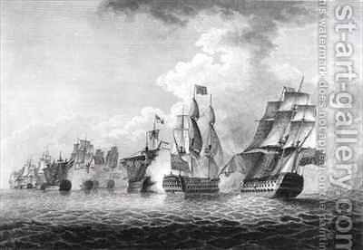 H.M.S.'Victory' bearing up in order to rake the 'Salvador del Munde', sea fight off Cape St. Vincent in 1797 by (after) Brenton, Jahleel - Reproduction Oil Painting