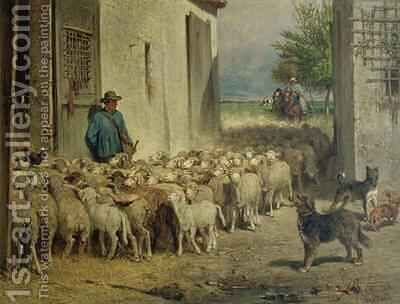 Return to the Sheepfold by Albert Heinrich Brendel - Reproduction Oil Painting