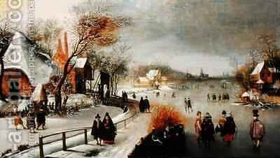 A Winter Landscape by Adam van Breen - Reproduction Oil Painting
