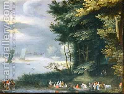 Banks of a Lake with Figures embarking in row-boats by Jan Frans van Bredael - Reproduction Oil Painting