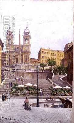The Spanish Steps, Rome by Antoinetta Brandeis - Reproduction Oil Painting
