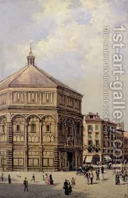 A View of the Baptistry in Florence by Antoinetta Brandeis - Reproduction Oil Painting
