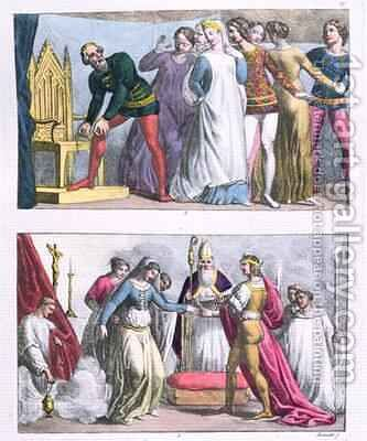 Institution of the Order of the Garter by Edward III (1312-77) in 1348 and the marriage of Henry I (1068-1135) by Bramatti - Reproduction Oil Painting