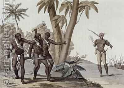 Freed slaves hunting down escaped slaves in Surinam, Guiana by (after) Bramati, G. - Reproduction Oil Painting