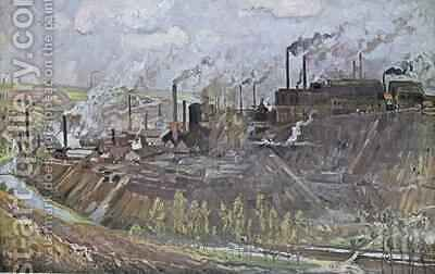 Forges and steelworks at Freiberg, Saxony by (after) Bracht, Eugen Felix Prosper - Reproduction Oil Painting