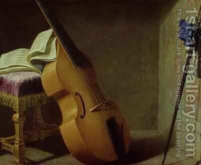Bass Viol, Score Sheet and a Sword by Boyer - Reproduction Oil Painting