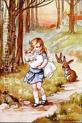Alice and the Pig Baby by A.L. Bowley - Reproduction Oil Painting