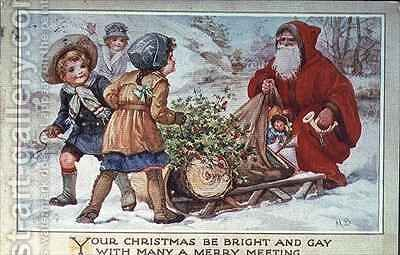 Children and Father Christmas with a Sleigh by A.L. Bowley - Reproduction Oil Painting