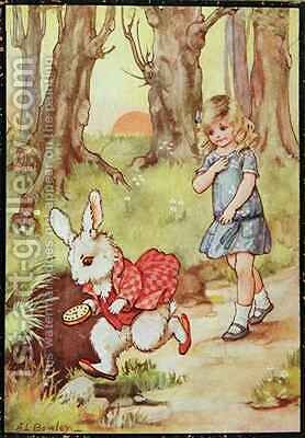 Alice and the White Rabbit by A.L. Bowley - Reproduction Oil Painting