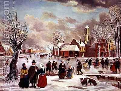 Winter in Holland by J. van der Bowlen - Reproduction Oil Painting