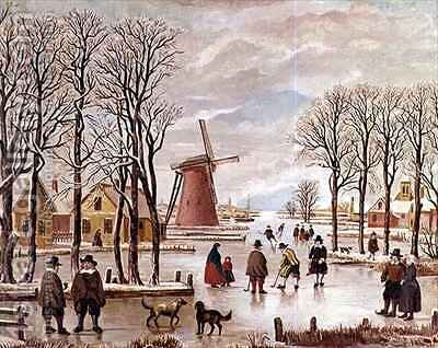 Dutch Winter Scene by J. van der Bowlen - Reproduction Oil Painting