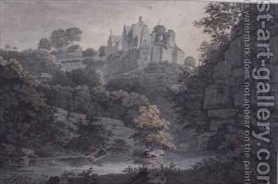 Hawthornden Castle near Edinburgh by James Bourne - Reproduction Oil Painting