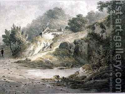 View near Halifax A pathway with cottage on a slope by James Bourne - Reproduction Oil Painting