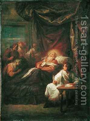 The Death of St. Ambrose by Bon de Boulogne - Reproduction Oil Painting