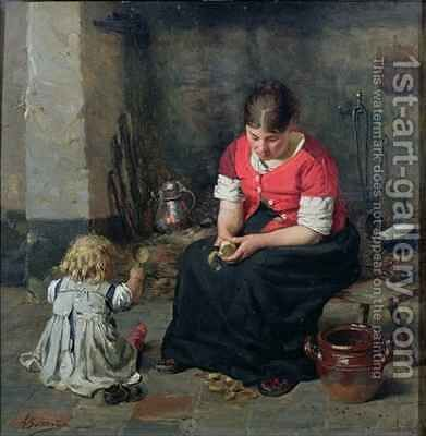 Preparing Vegetables by Alois Boudry - Reproduction Oil Painting