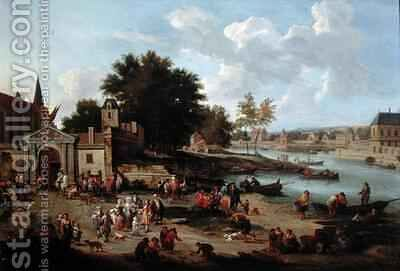 Townsfolk Gathering on the Shore of an Estuary by Boudewyns - Reproduction Oil Painting
