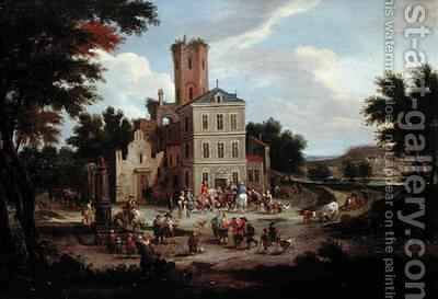 Townsfolk Gathering Outside a Public Building by Boudewyns - Reproduction Oil Painting