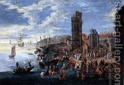 A Harbour Scene by Boudewyns - Reproduction Oil Painting