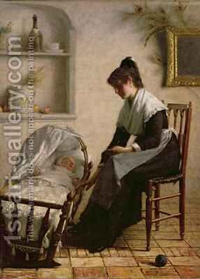 Young mother from Arles by Henri Bouchet-Doumeng - Reproduction Oil Painting