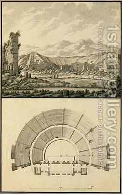View and Plan of the Theatre of Hierapolis by Giovanni Battista (Giambattista) Borra - Reproduction Oil Painting