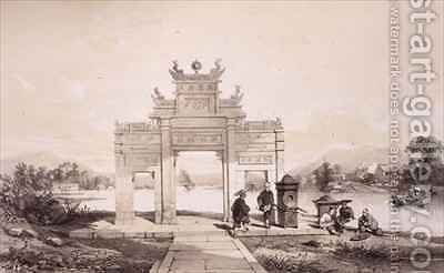 Triumphal Arch on the Macao-Canton Canal by (after) Borget, Auguste - Reproduction Oil Painting