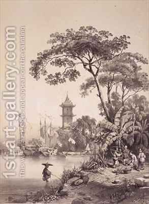 A Pagoda on the Macao-Canton Canal by (after) Borget, Auguste - Reproduction Oil Painting