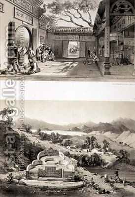 Interior View of the Great Temple at Macao and a Tomb and Village between the Bays of Hong Kong and Cowloon by (after) Borget, Auguste - Reproduction Oil Painting