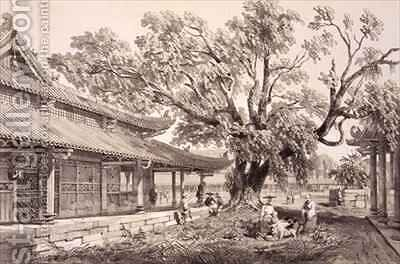 The Temple of Buddha in the Honan Suburbs of Canton by (after) Borget, Auguste - Reproduction Oil Painting