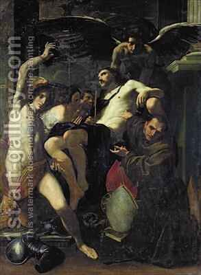 Christ Adored by Angels, St. Sebastian and St. Bonaventure by Carlo Bononi - Reproduction Oil Painting