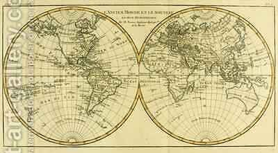 Map of the World in two Hemispheres by Charles Marie Rigobert Bonne - Reproduction Oil Painting
