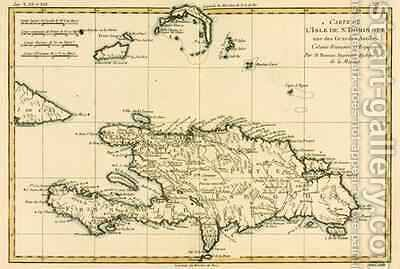 The French and Spanish Colony of the Island of St Dominic of the Greater Antilles by Charles Marie Rigobert Bonne - Reproduction Oil Painting