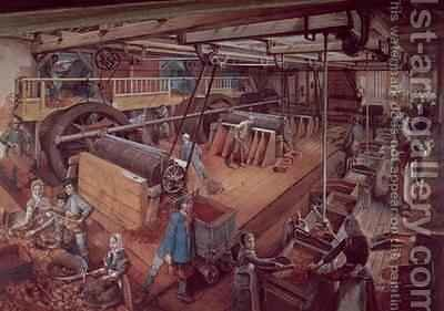 Coal Riddling workshop, at the mines of Blanzy by Ignace Francois Bonhomme - Reproduction Oil Painting