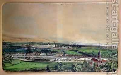 Industrial landscape in the Blanzy coal field, Saone-et-Loire 4 by Ignace Francois Bonhomme - Reproduction Oil Painting