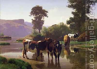 Cattle by a Lake by Auguste Bonheur - Reproduction Oil Painting